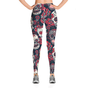Red & White Sugar Skull Leggings - Hello Moa
