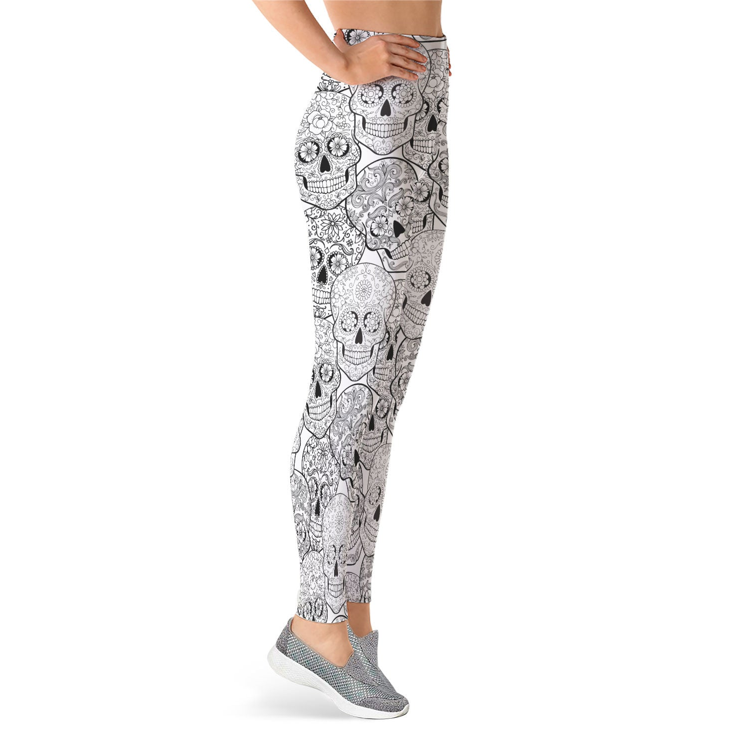 Black & White II Sugar Skull Leggings - Hello Moa