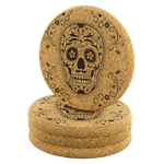 Sugar Skull Flower Cork Drink Coaster - Hello Moa
