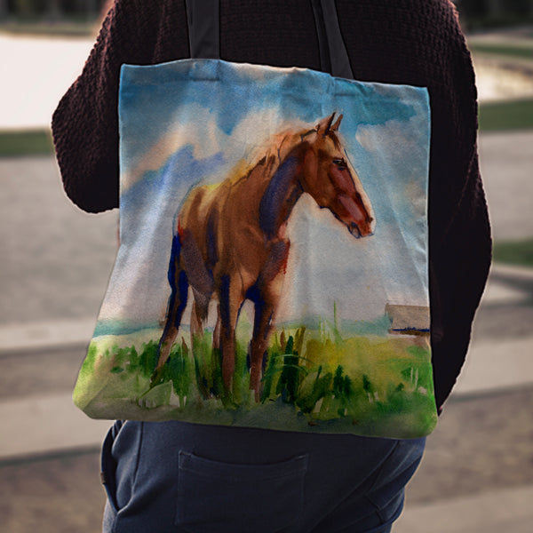 Watercolor Meadow Horse Cloth Tote Bag