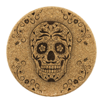 Sugar Skull Flower Cork Drink Coaster