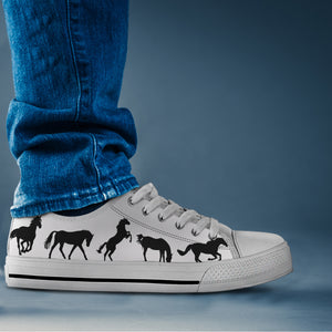 Black and White Horse Lo Cut Shoes - Hello Moa