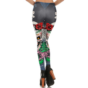 Green & Gray Sugar Skull Leggings - Hello Moa