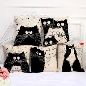Cute Black & White Cat Pillow Covers