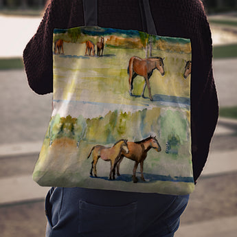 Horse Paddock Cloth Tote Bag