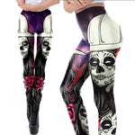 Purple Rose Skull Leggings - Hello Moa
