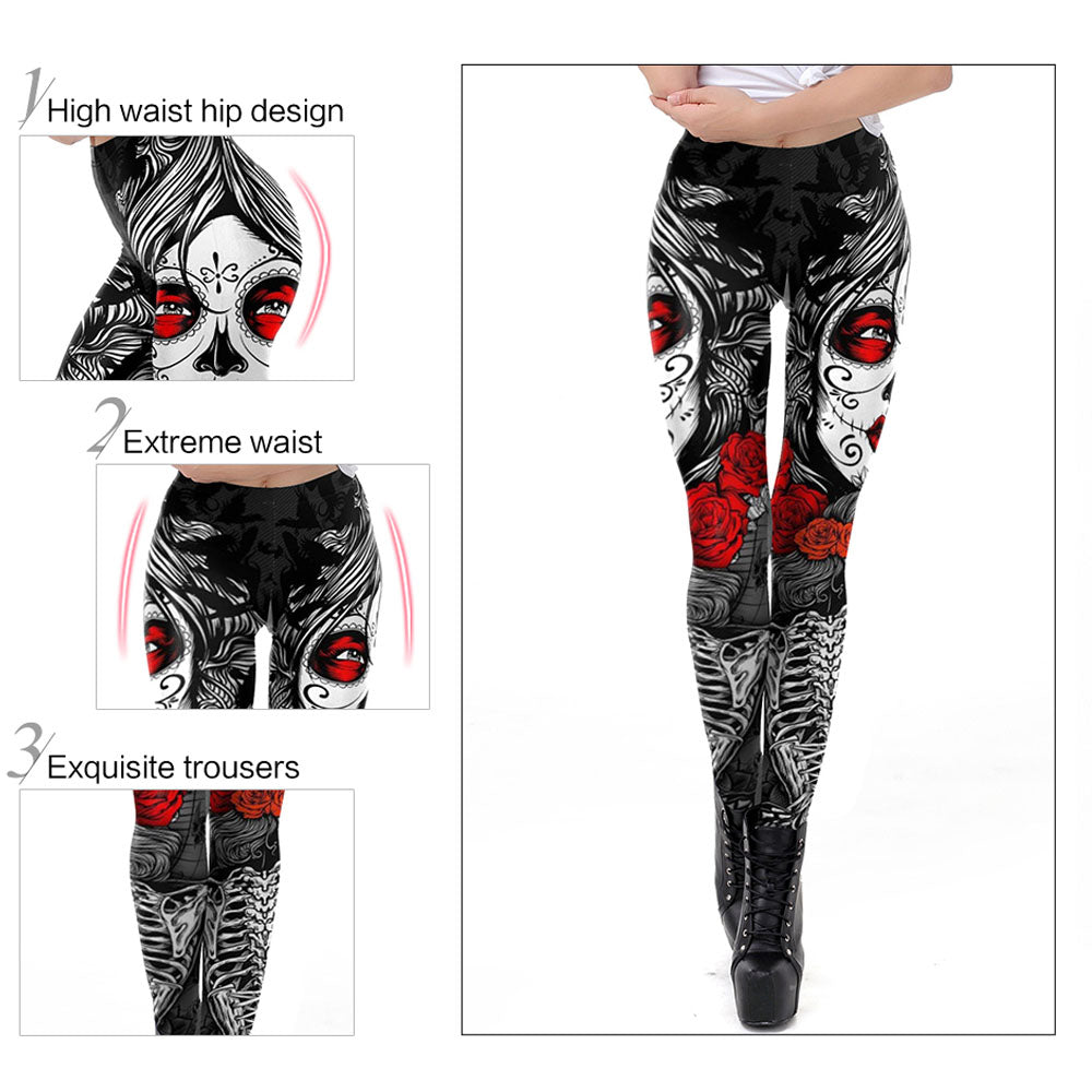 Rose Calavera Leggings - Hello Moa