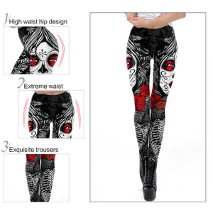 Rose Calavera Leggings
