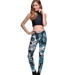 Blue & White Sugar Skull Leggings - Hello Moa