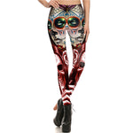 Red Calavera Skull Leggings - Hello Moa