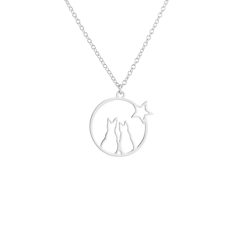 Cats & Star Necklace - Hello Moa