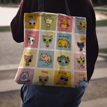 Comic Cat Tote Bag