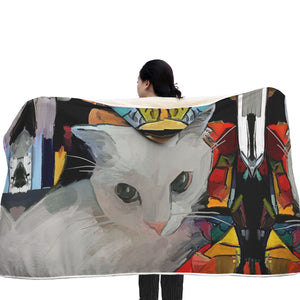 White Cat Hooded Blanket - Hello Moa