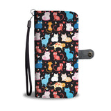 Cats on Black Wallet