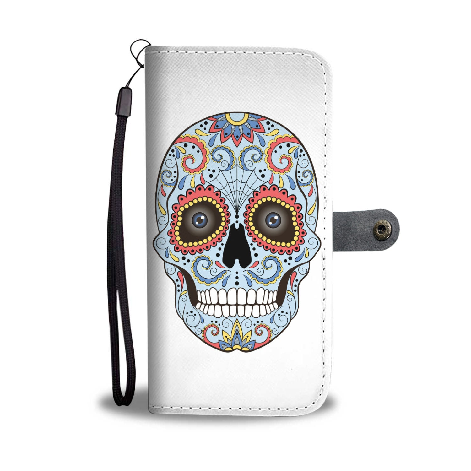 Blue Sugar Skull Phone Wallet - Hello Moa