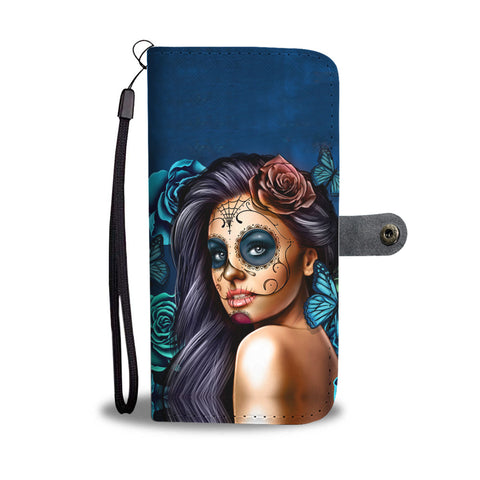 Teal Calavera Phone Wallet