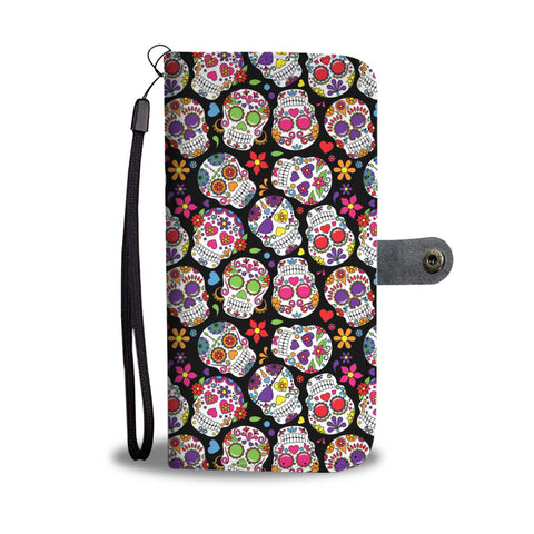 Colorful Sugar Skull Phone Wallet