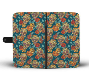 Green Sugar Skull Phone Wallet