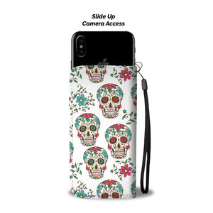 Teal Sugar Skull Phone Wallet - Hello Moa