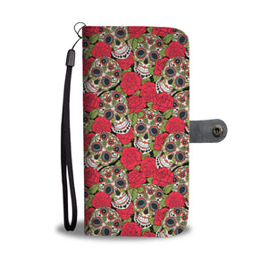 Red Rose Sugar Skull Phone Wallet - Hello Moa