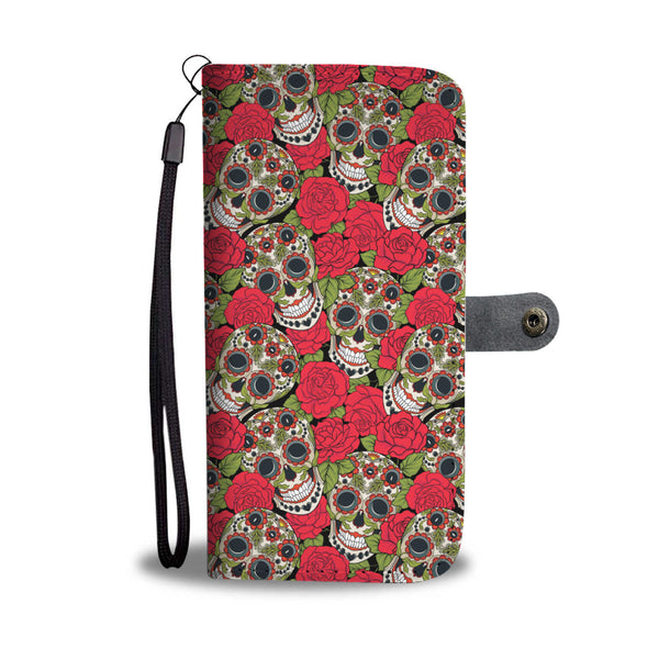 Red Rose Sugar Skull Phone Wallet
