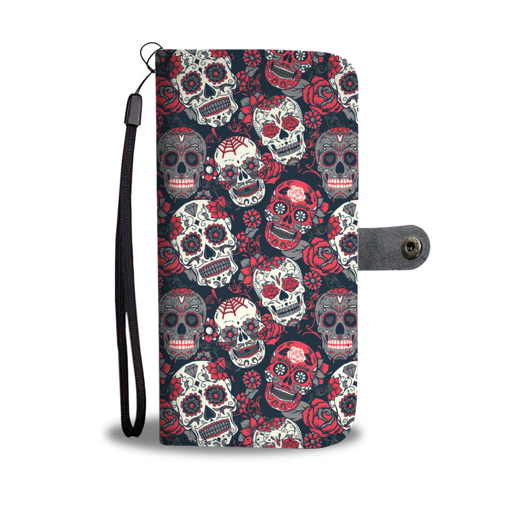 Red & White Sugar Skull Phone Wallet