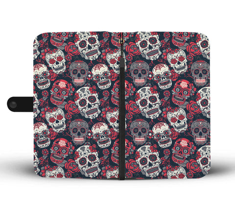 Image of Red & White Sugar Skull Phone Wallet
