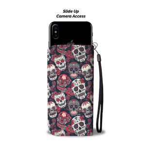 Red & White Sugar Skull Phone Wallet - Hello Moa