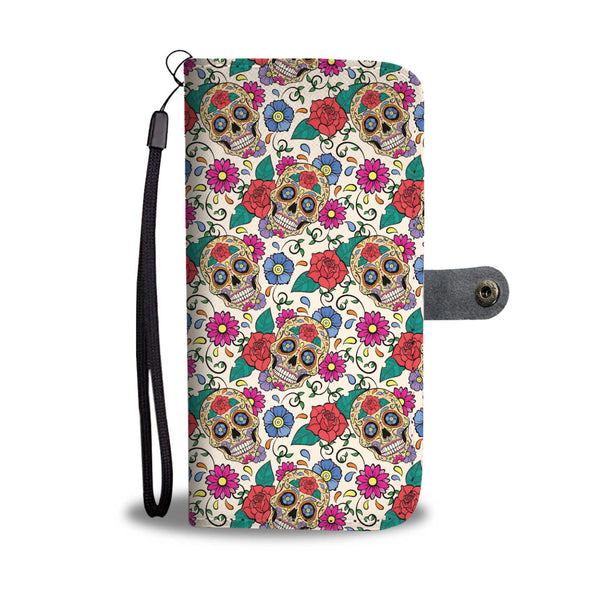 Rose Sugar Skull Phone Wallet