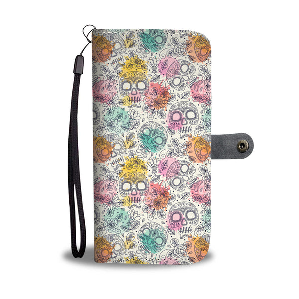 Watercolor Sugar Skull Phone Wallet