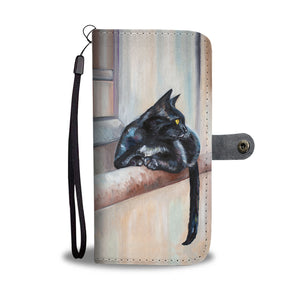 Cat On Ledge Phone Wallet