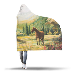 Horse on Hill Hooded Blanket - Hello Moa