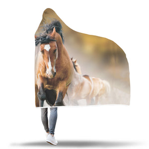 Running Horses Hooded Blanket - Hello Moa