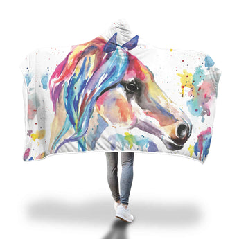 Watercolor Horse Hooded Blanket