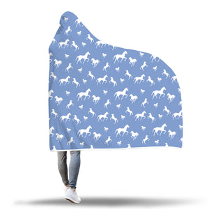 Blue Horse Hooded Blanket