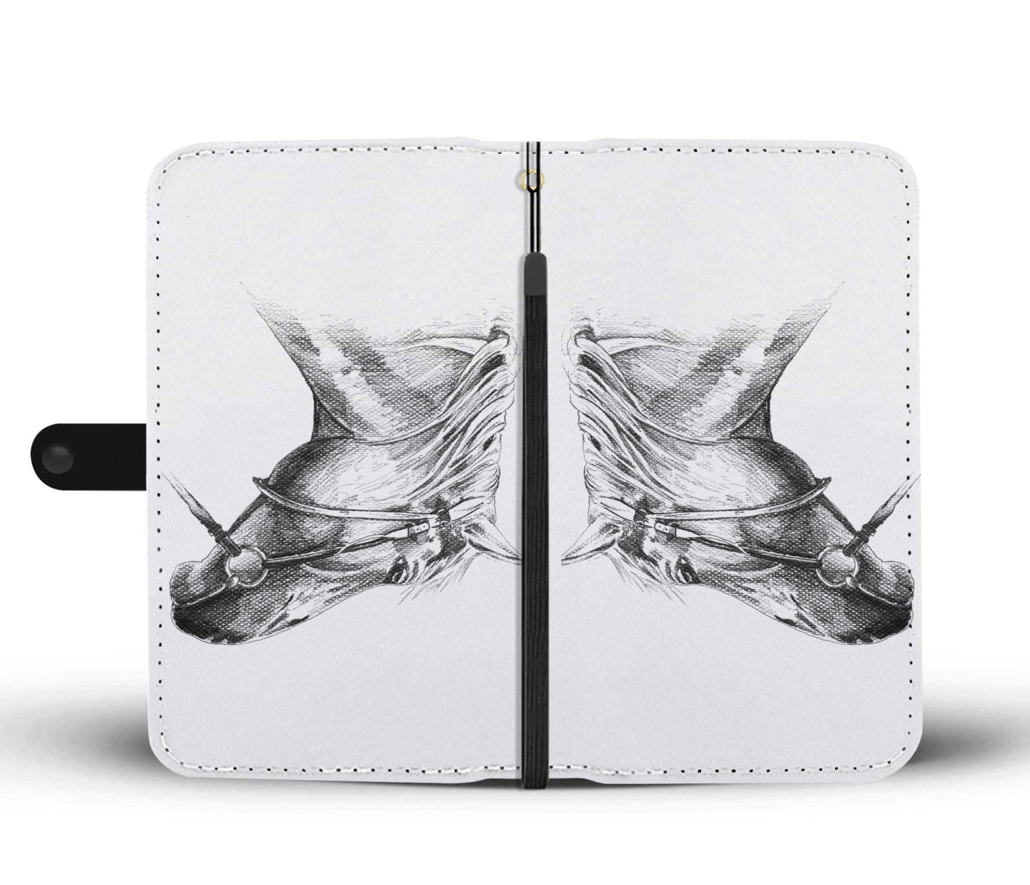 Pencil Drawing II Horse Phone Wallet - Hello Moa