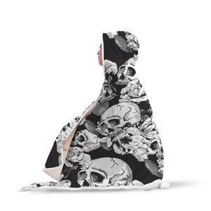 Black & White Skull Hooded Blanket - Hello Moa