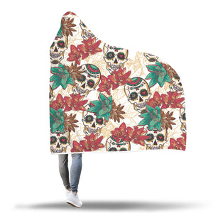 Green Flower Sugar Skull Hooded Blanket - Hello Moa