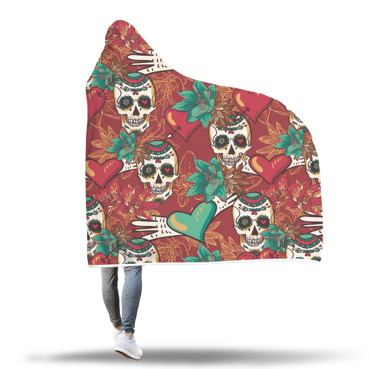 Green Hearts Skull Hooded Blanket - Hello Moa