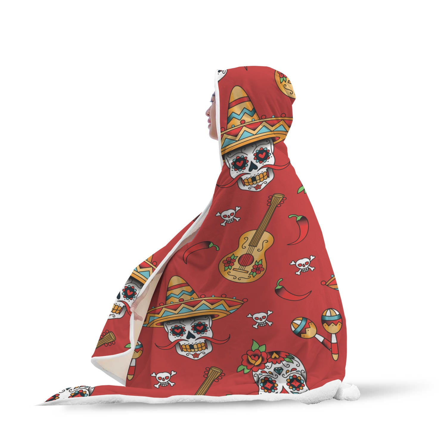 Guitar Sugar Skull Hooded Blanket - Hello Moa