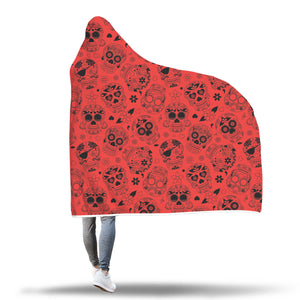 Red Sugar Skull Hooded Blanket - Hello Moa
