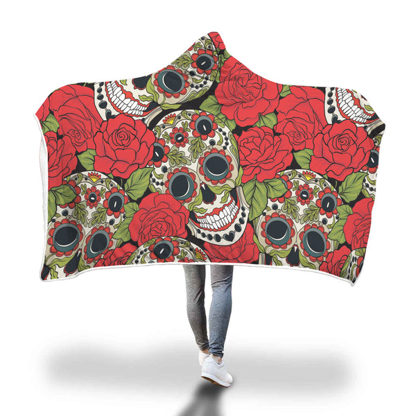 Large Rose Skull Hooded Blanket