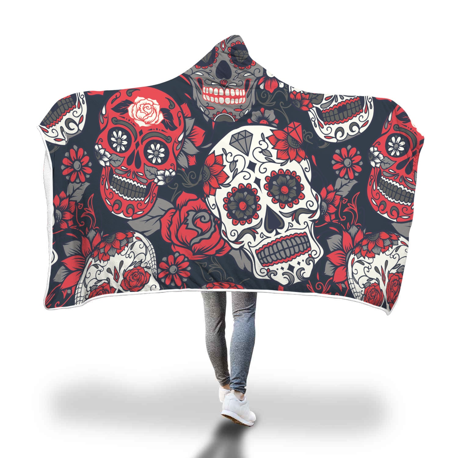 White Sugar Skull Hooded Blanket - Hello Moa