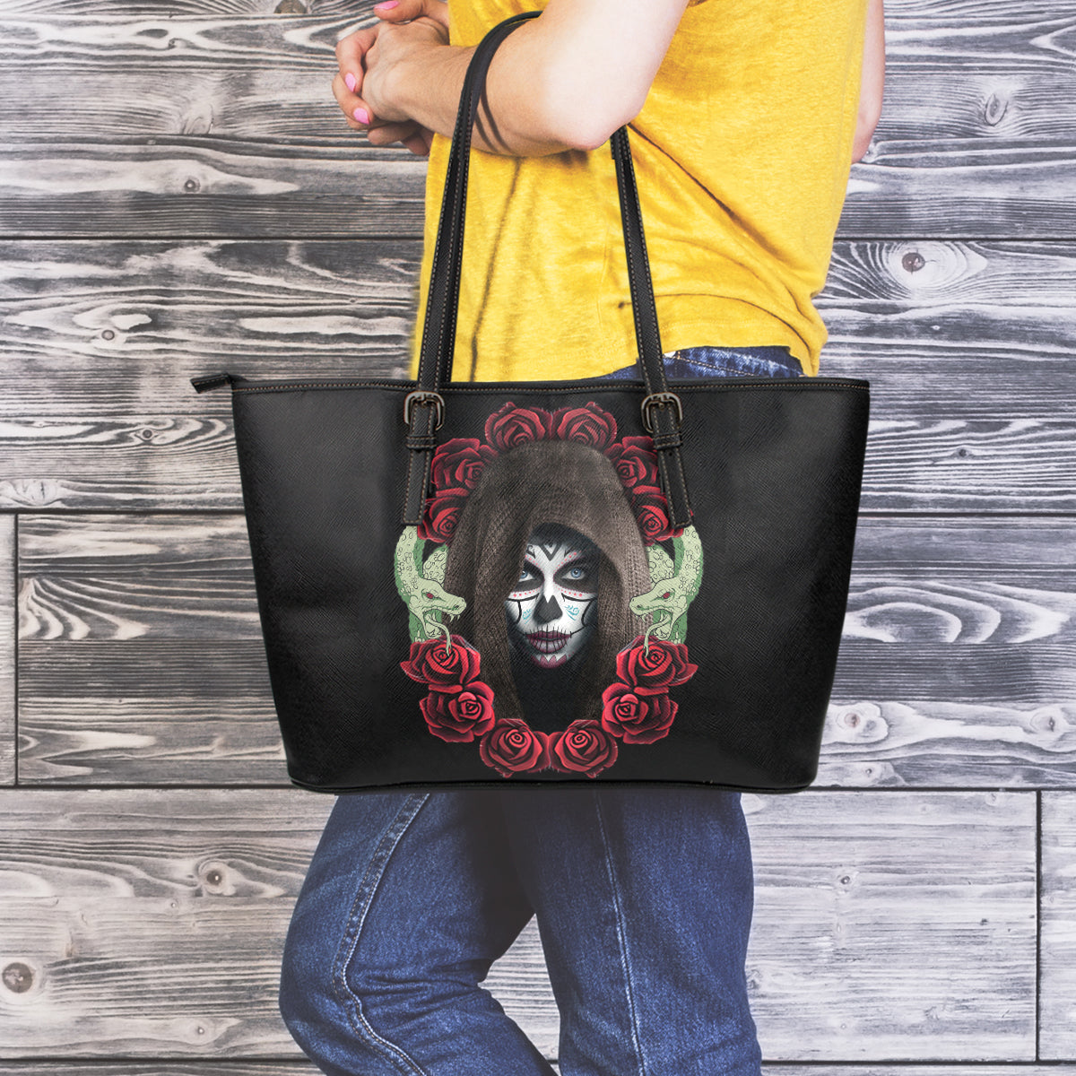 Hooded Sugar Skull Large Tote - Hello Moa