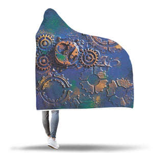 Blue Rust Steampunk Hooded Blanket - Hello Moa