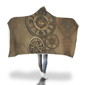 Steampunk Clock Hooded Blanket