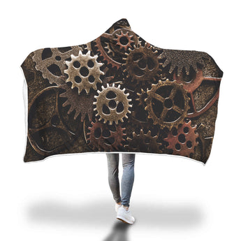 Steampunk Cogs Hooded Blanket