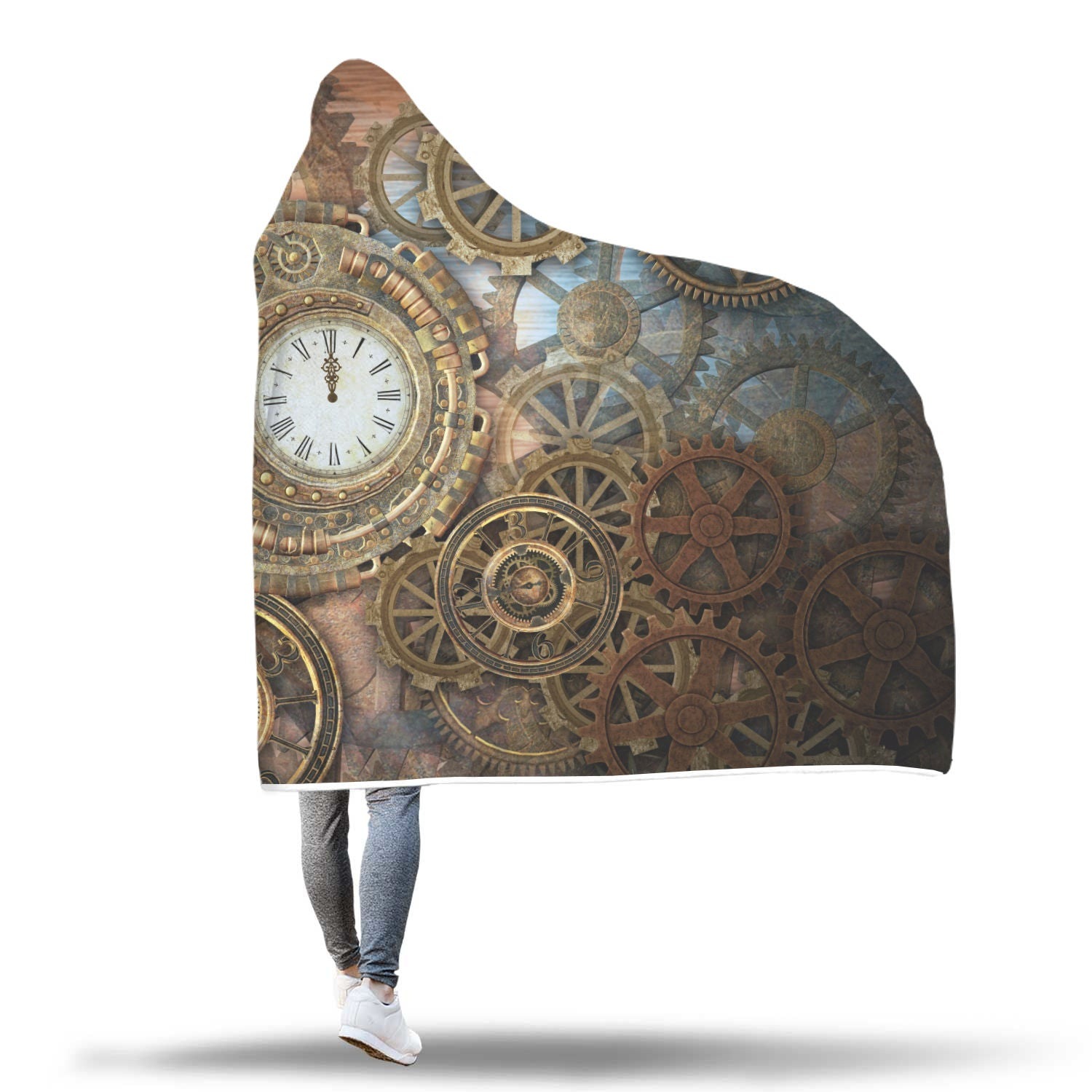 Cogs & Clocks Hooded Blanket