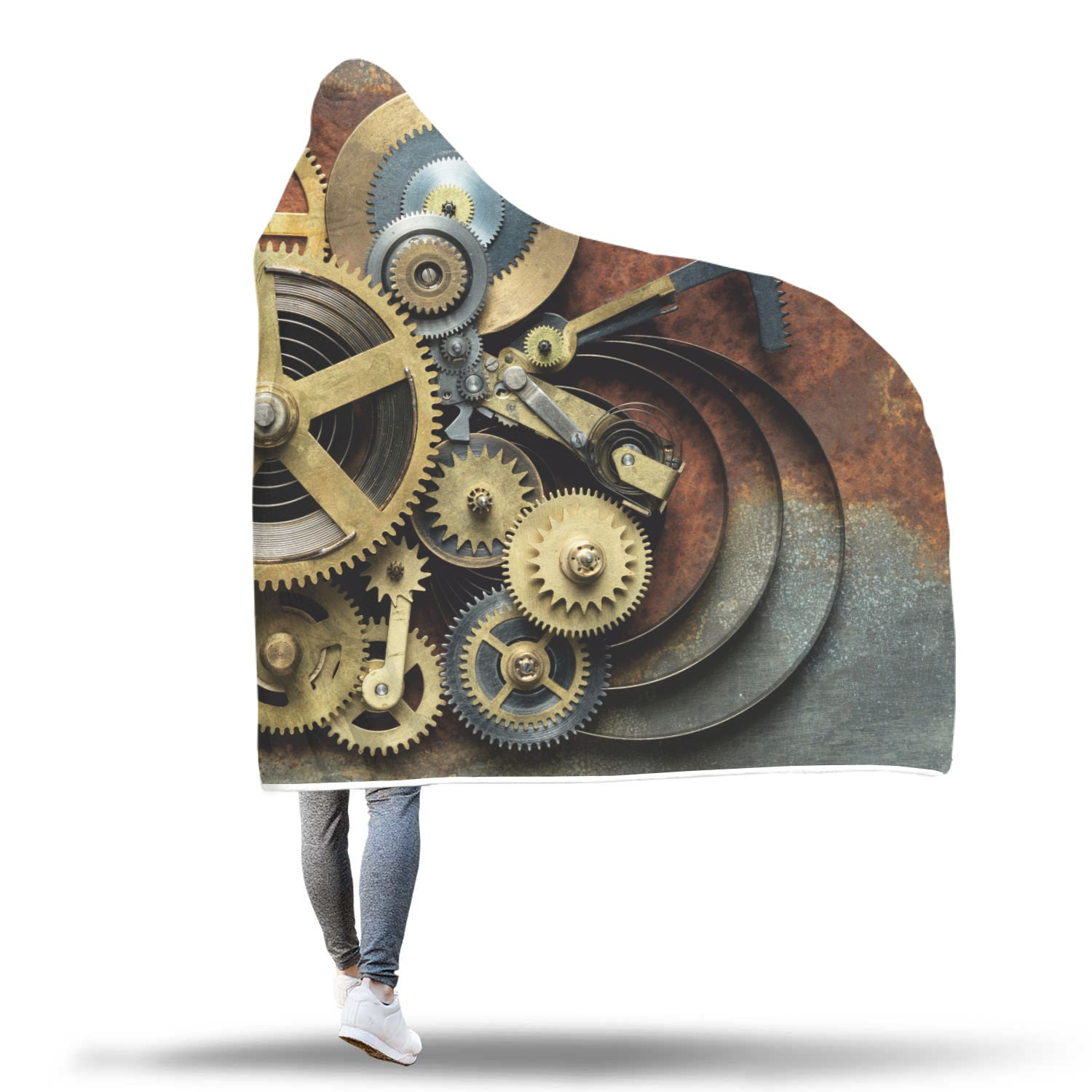 Steampunk Gear Hooded Blanket