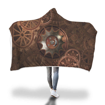 Steampunk Moon Hooded Blanket
